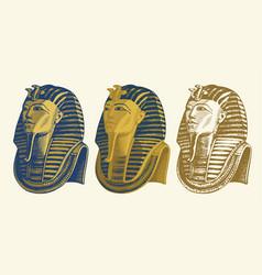 Pencil drawing golden mask pharaoh tutankhamun vector