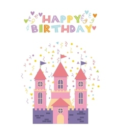 Pink castle birthday card vector