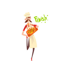 pizza maker character with a tray with freshly vector image