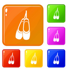 Pointe shoes icons set color vector