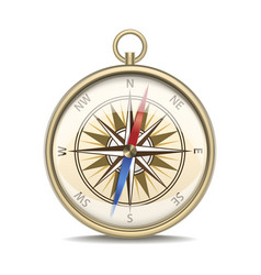 Realistic detailed compass with windrose vector