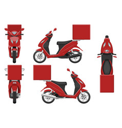 red scooter template vehicle branding mockup vector image