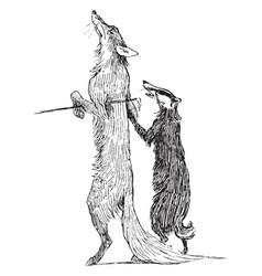 Reynard the fox reynard and grimbard vintage vector