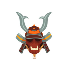Samurai warrior mask and helmet vector
