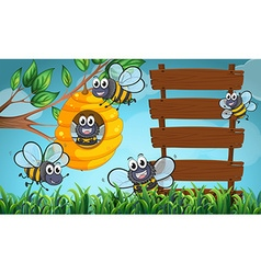 Scene with bees and wooden sign vector image