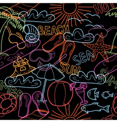 Seamless pattern with beach doodles vector image