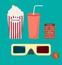 Set cinema popcorn and ticket vector