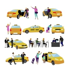 set of Taxi service icons isolated on white vector image