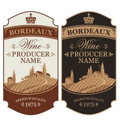 set of wine labels with european rural landscape vector image