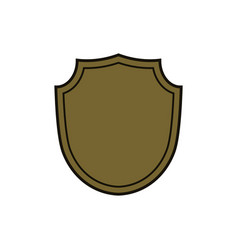 shield shape gold icon simple silhouette flat vector image