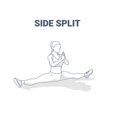 side split female home workout stretching exercise vector image