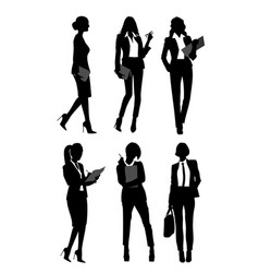 silhouettes of businesswomen vector image