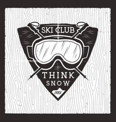 ski club badge winter adventure card wild vector image