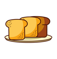 slice bread fresh food bakery vector image
