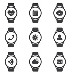 smart watch icons set with fitness tracker and vector image