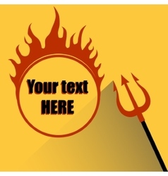 Trident with a hell fire on a yellow background vector image