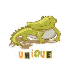Unique crocodile cartoon reptile animal hand drawn vector