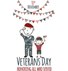 Veterans day greeting card with kids vector