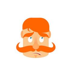 Vintage irishman with red mustache surprise emoji vector