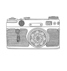 vintage retro photo camera with leaves pattern on vector image