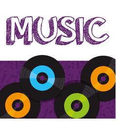 vinyl disks musical poster vector image