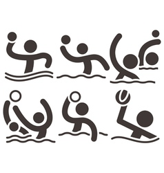 Water polo icons vector image