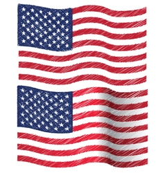 Waving hand draw sketch flag of united state of vector
