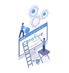 Web design software optimization isometric vector