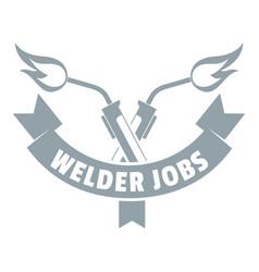 Welder job logo simple gray style vector
