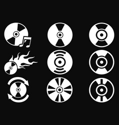 White cd icons on black background vector