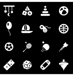 white toys icon set vector image