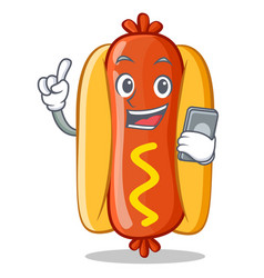 With phone hot dog cartoon character vector