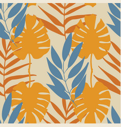 yellow and blue tropical leaves seamless vector image