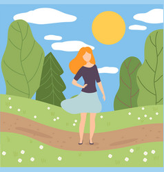 young woman walking in park girl on summer season vector image