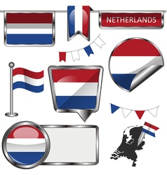 Glossy icons with Netherlands flag vector image vector image