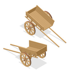 isometric vintage wooden cart flat 3d vector image vector image