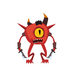 one eyed warrior monster fantasy magical creature vector image