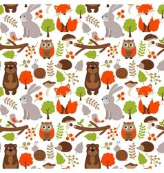 Woodland Animals Seamless Pattern vector image