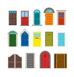 Front house doors flat set vector image