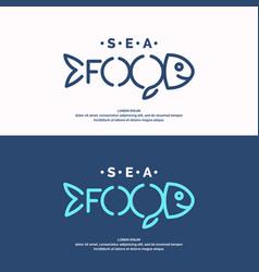 modern conceptual set of logos sea food vector image