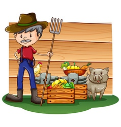 A farmer in front of the empty signboard vector image