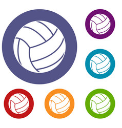black volleyball ball icons set vector image vector image