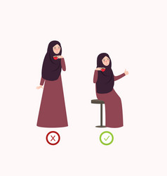correct and wrong posture way drink vector image