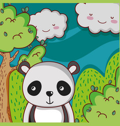 Cute panda on forest doodle cartoon vector