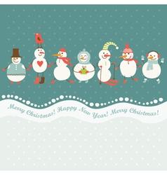 horizontal of cute snowmen vector image vector image