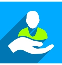 Person Assistance Flat Square Icon with Long vector image vector image