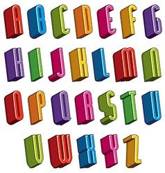 3d font colorful letters geometric dimensional vector image vector image