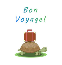 bon voyage turtle goes on a trip with a suitcase vector image
