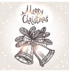 Christmas Card With Sketch Bells vector image vector image