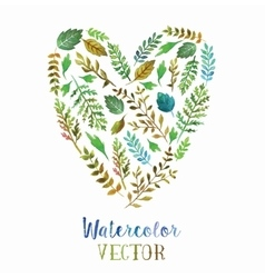 Heart of watercolor leaves vector image